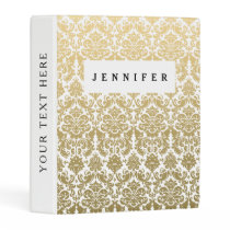 Gold and White Elegant Damask Pattern Mini Binder