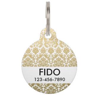 Gold and White Elegant Damask Pattern Pet ID Tag