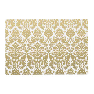 Gold and White Elegant Damask Pattern Placemat