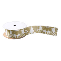 Gold and White Elegant Damask Pattern Satin Ribbon