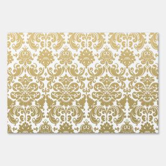 Gold and White Elegant Damask Pattern Sign