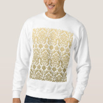 Gold and White Elegant Damask Pattern Sweatshirt