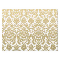 Gold and White Elegant Damask Pattern Tissue Paper