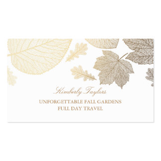 Gold and White Fall Leaves Elegant Business Card