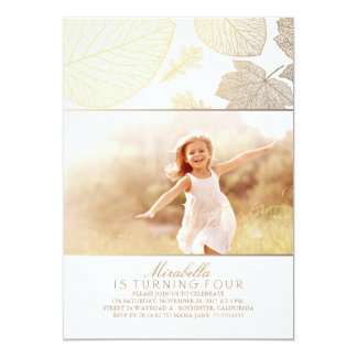 Gold and White Fall Leaves Photo Birthday Party Card