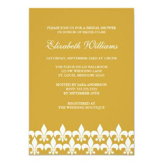 Gold and White Fleur de Lis Bridal Shower Card