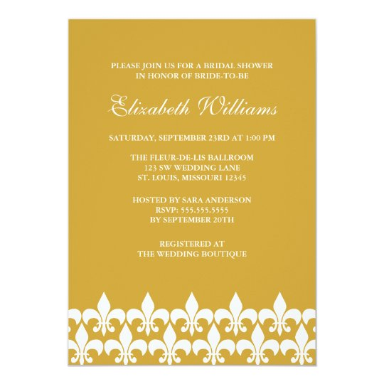 Gold and White Fleur de Lis Bridal Shower Card