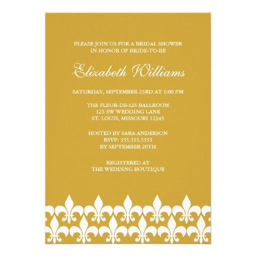 Gold and White Fleur de Lis Bridal Shower Invitations