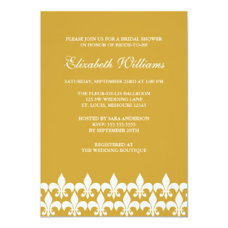 "Gold and White Fleur de Lis Bridal Shower 5"" X 7"" Invitation Card"