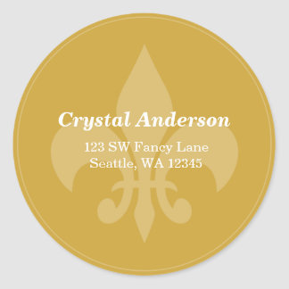 Gold and White Fleur-De-Lis Custom Address Label Classic Round Sticker