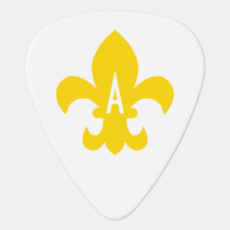 Gold and White Fleur de Lis Monogram Guitar Pick