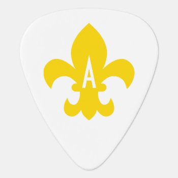 Gold And White Fleur De Lis Monogram Guitar Pick by cliffviewgraphics at Zazzle