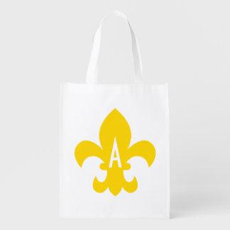 Gold and White Fleur de Lis Monogram Reusable Grocery Bag