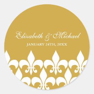Gold and White Fleur de Lis Wedding Favor Label Classic Round Sticker