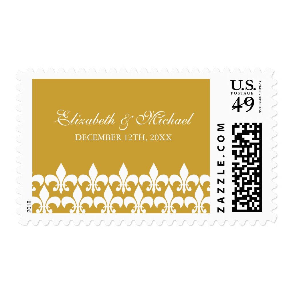 Gold and White Fleur de Lis Wedding Postage Stamp