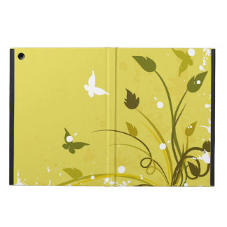 Gold and White Floral Butterfly Grunge iPad Air Cases