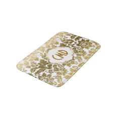 Gold And White Floral Damask Bath Mat at Zazzle