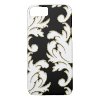 Gold And White Floral Damask iPhone 7 Case
