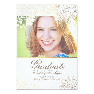 Gold and White Floral Graduation Card