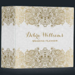 """Gold And White Floral Paisley Lace Binder<br><div class=""""desc"""">Elegant gold tones floral paisley lace over white paisley background. Many colors available but any combination can be requested by email. If you need any help customizing any of my designs,  contact ArtOnWear designer. Free text formatting with live help available by request.</div>"""
