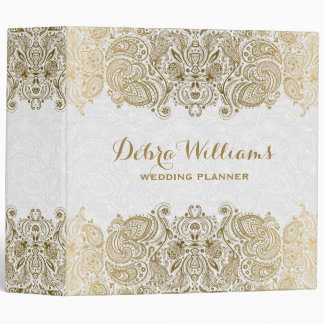 Gold And White Floral Paisley Lace Binder