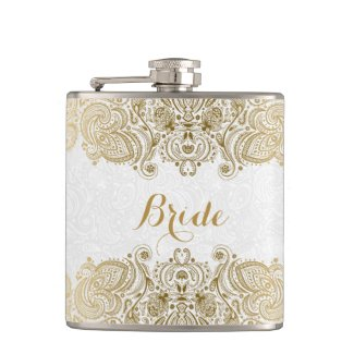 Gold And White Floral Paisley Lace Hip Flasks