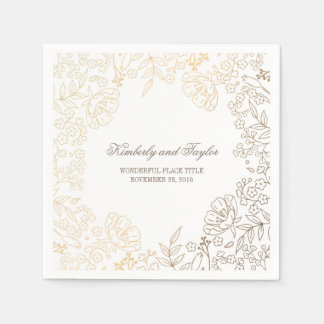 Gold and White Floral Vintage Wedding Napkin