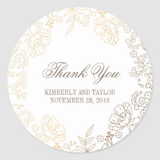 Gold and White Floral Vintage Wedding Thank You Classic Round Sticker