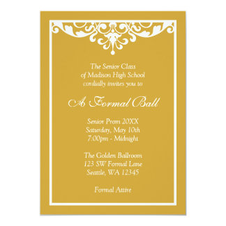 Gold and White Flourish Formal Prom Dance Ball Custom Invitations