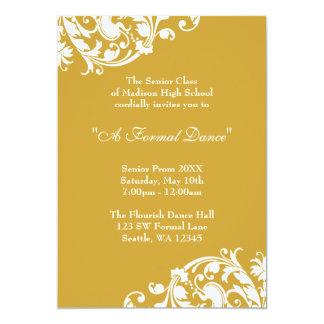 """Gold and White Flourish Prom Formal Invitation 5"""" X 7"""" Invitation Card"""