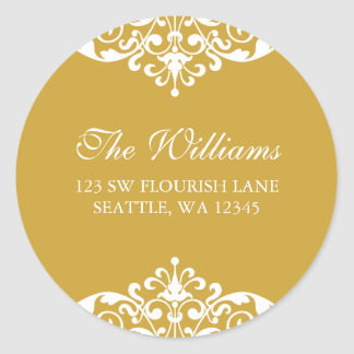 Gold and White Flourish Scroll Address Label Round Sticker