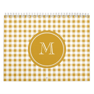 Gold and White Gingham, Your Monogram Calendar