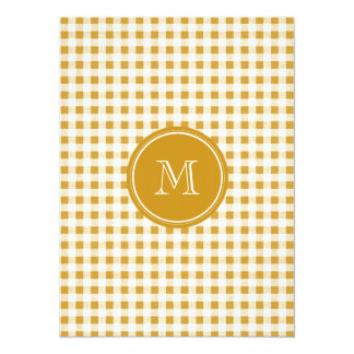 Gold and White Gingham, Your Monogram 5.5x7.5 Paper Invitation Card