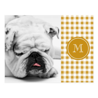 Gold and White Gingham, Your Monogram Postcard