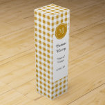 """Gold and White Gingham, Your Monogram Wine Box<br><div class=""""desc"""">This trendy, rustic, gold and white gingham pattern is a perfect for spring and summer designs with a gold circle tag label with your initial on it in white text in an elegant font. Design by GraphicsByMimi &#169; at Zazzle. A classic, traditional style emerging as a new fashion trend. Other...</div>"""