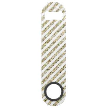Disney Themed Gold and White Glitter Stripes Bar Key