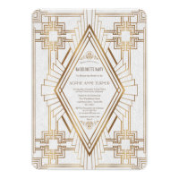 Gold and White Great Gatsby Bachelorette Party Card