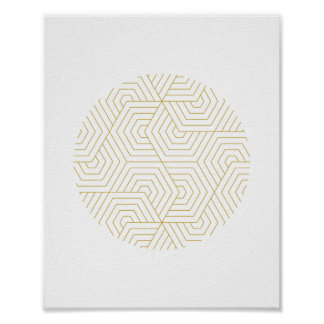 Gold and White Hexagon Circle Geometric Wall Art