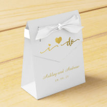 Gold and White I Do Wedding Favor Box