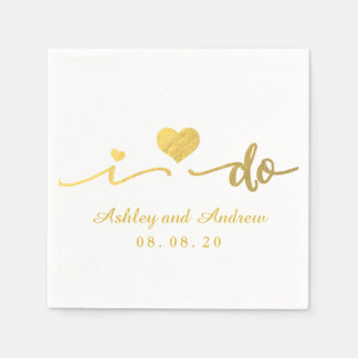 Gold and White I Do | Wedding Paper Napkin