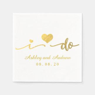 Gold and White I Do | Wedding Paper Napkin
