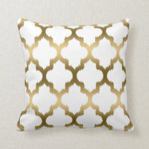 Gold And White Ikat Quatrefoil Geometric Pattern Throw Pillow