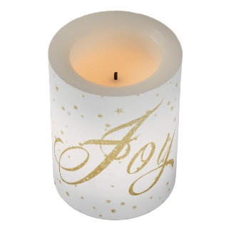 Gold and White Joy Flameless LED Candle