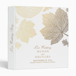Gold and White Leaves Fall Wedding Binder