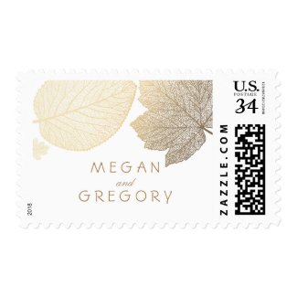 Gold and White Leaves Fall Wedding Postage Stamps at UniqueRusticWeddingInvitations.com