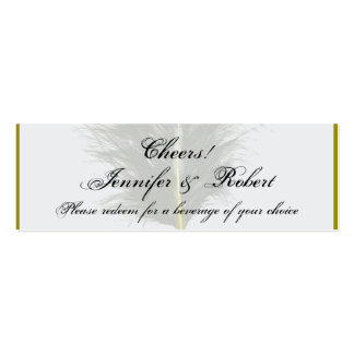 Gold and White Marabou Feather Wedding Drink Ticke Mini Business Card