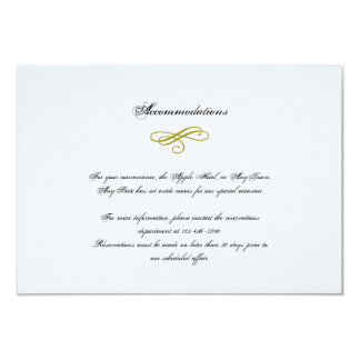 Gold and White Marabou Feather Wedding Insert Card