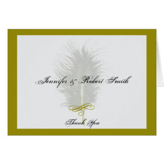 Gold and White Marabou Feather Wedding Thank You Greeting Card