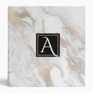 Gold and White Marbled Monogrammed Binder