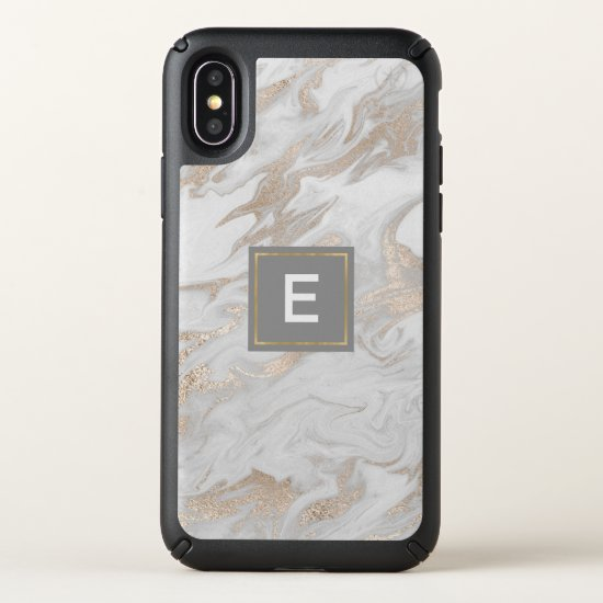 Gold and White Marbled Monogrammed iPhone X Case